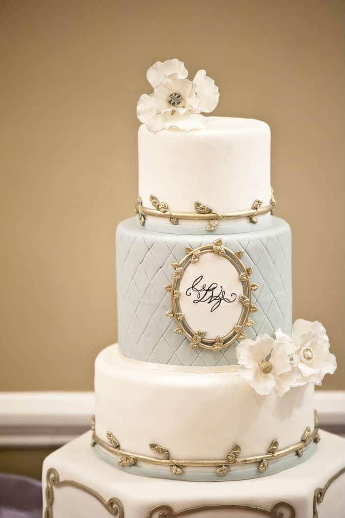 Valencienne Custom Bridal Cake Opera Blue Gold Wedding Theme