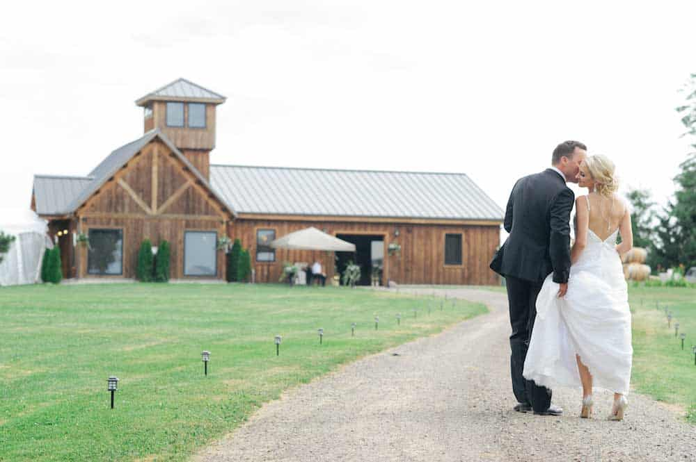 bride and groom in front of private estate location wedding