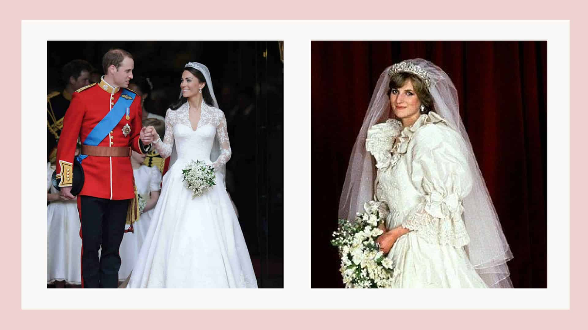 princess diana and kate middleton wearing wedding dresses