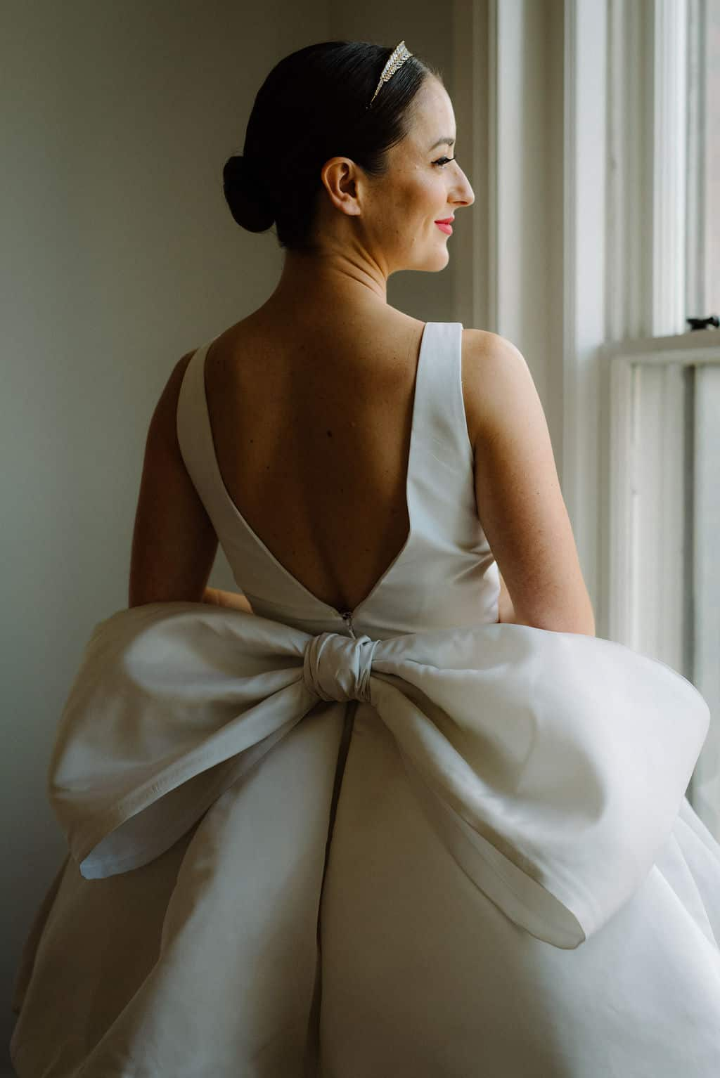 wedding gown with bow
