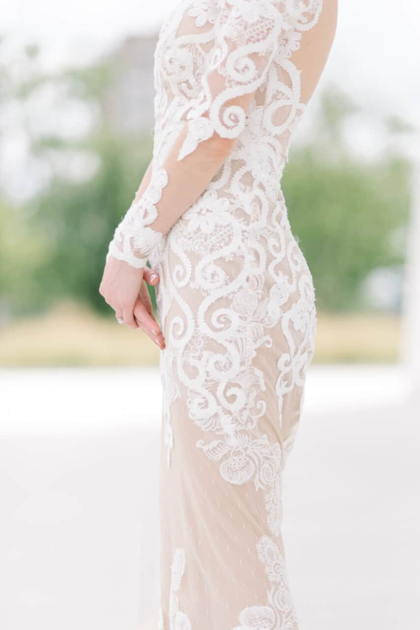 Custom wedding gown with lace design