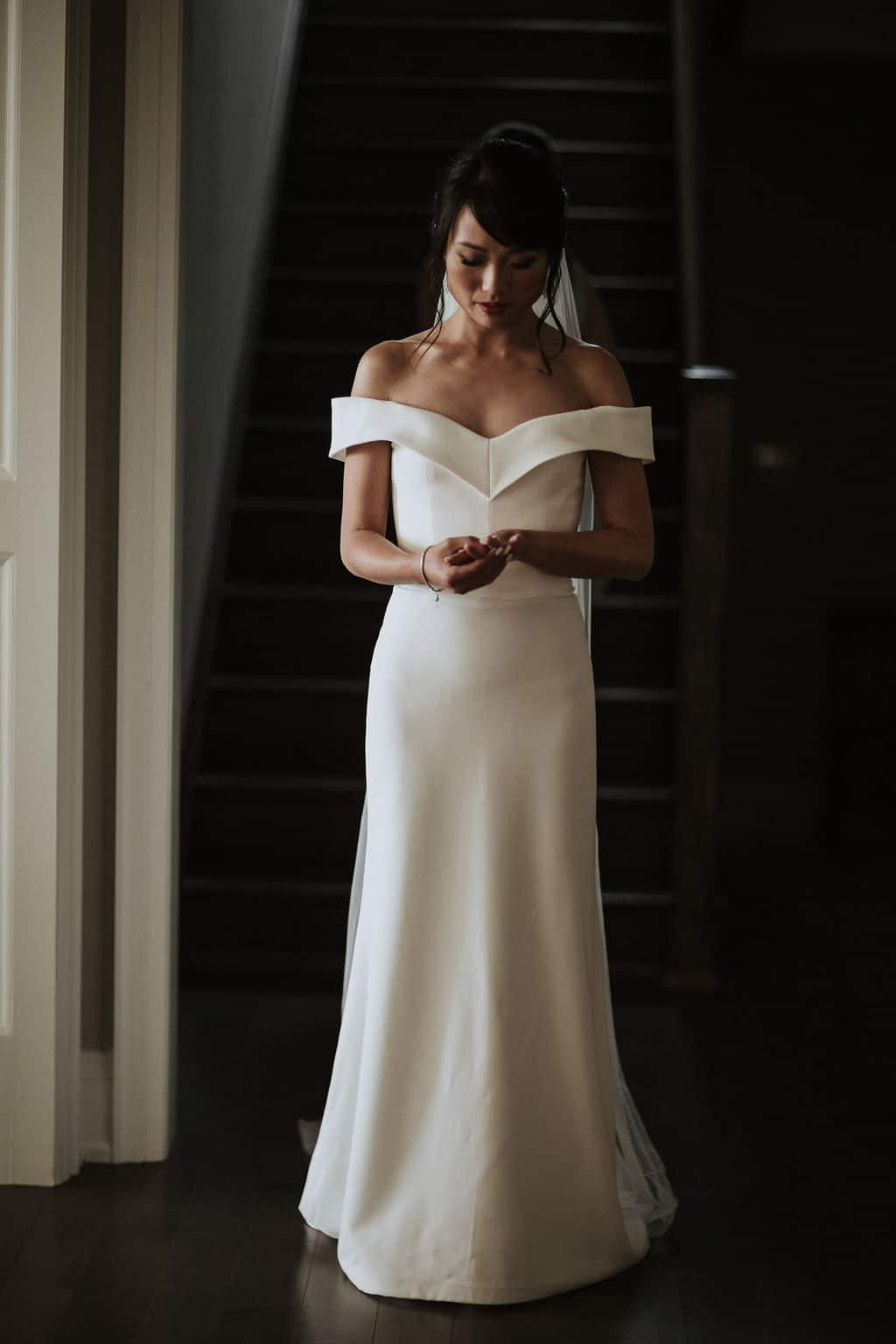Bride in dark dress