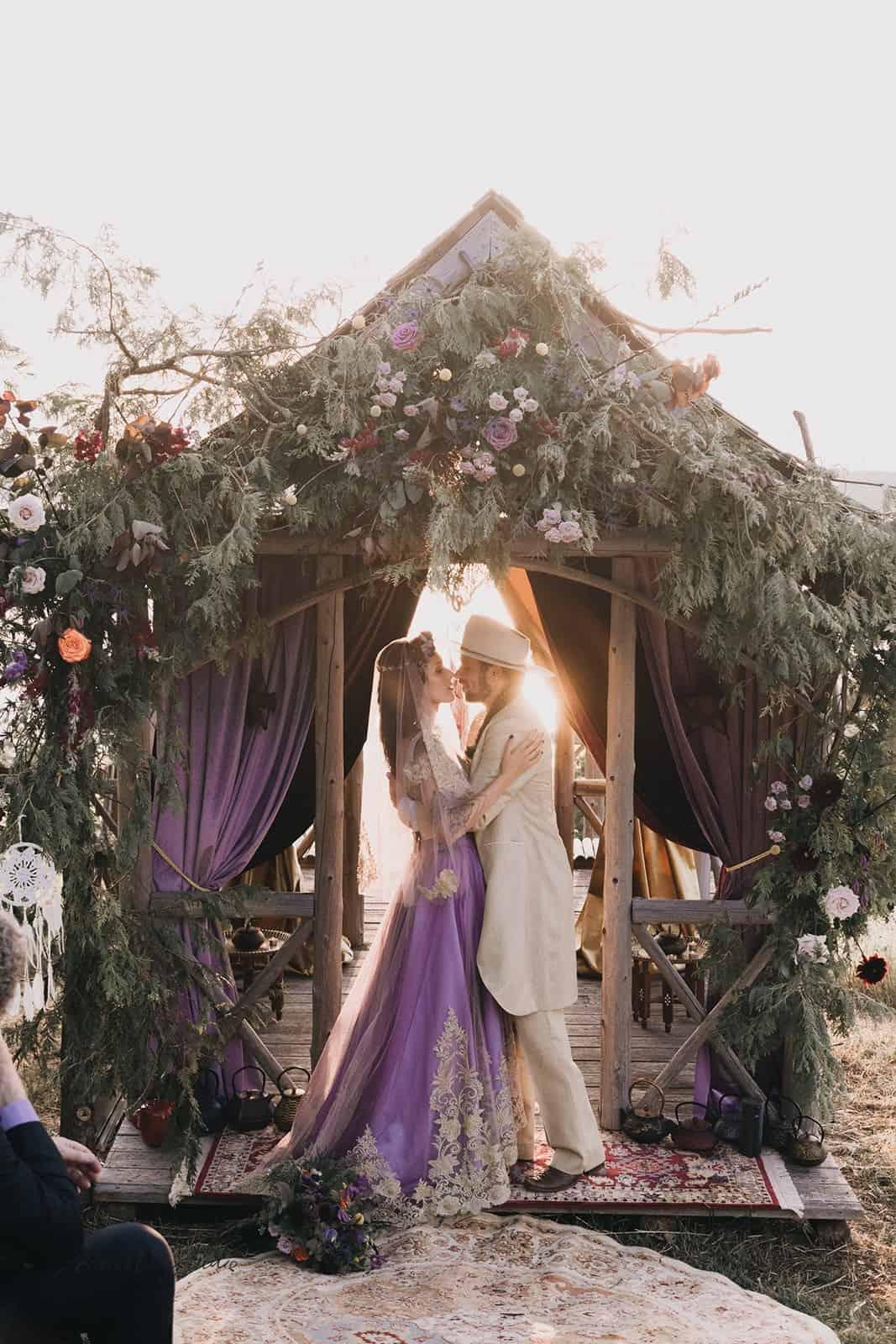 Valencienne custom made boho wedding gown