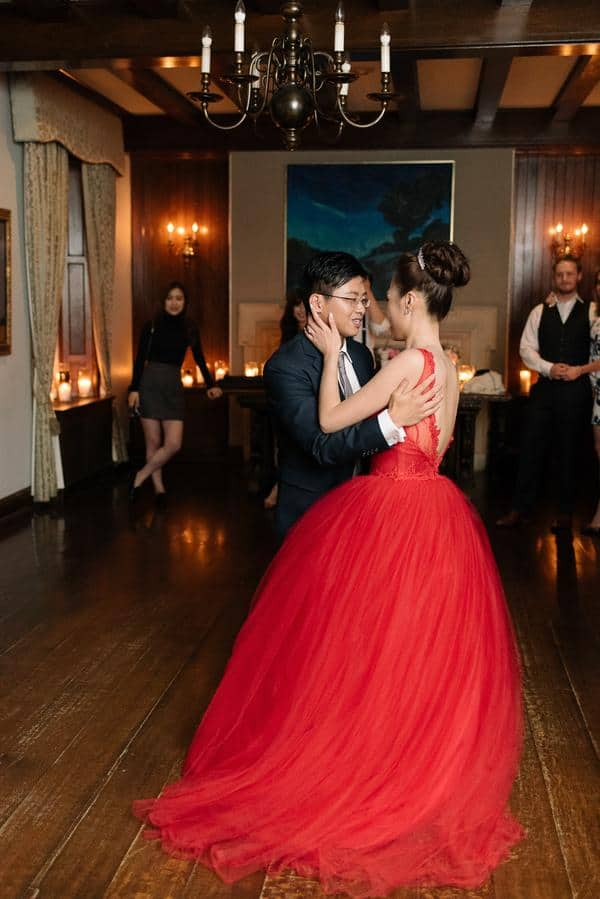Valencienne Bridal Red Evening Gown
