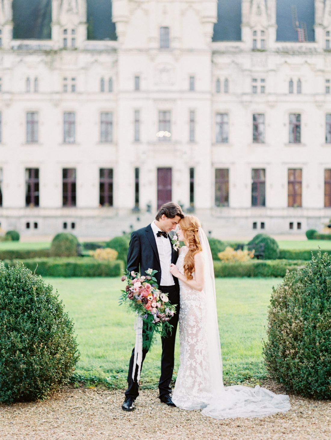 Valencienne Bride and Groom in front of French Chateau