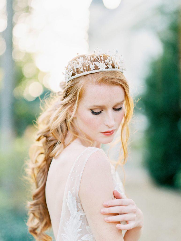 Valencienne Bridal featuring crown headpiece